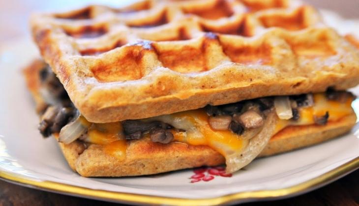 Grilled Cheese Mushroom Waffle Sandwich