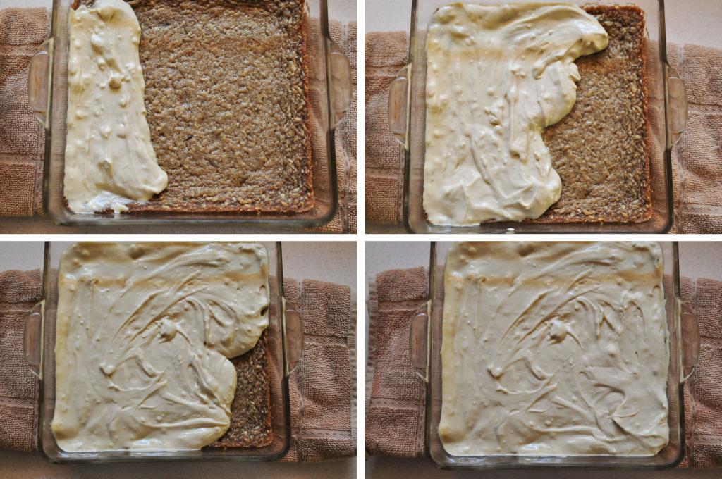 icing steps - Cheesecake Oatmeal Bars