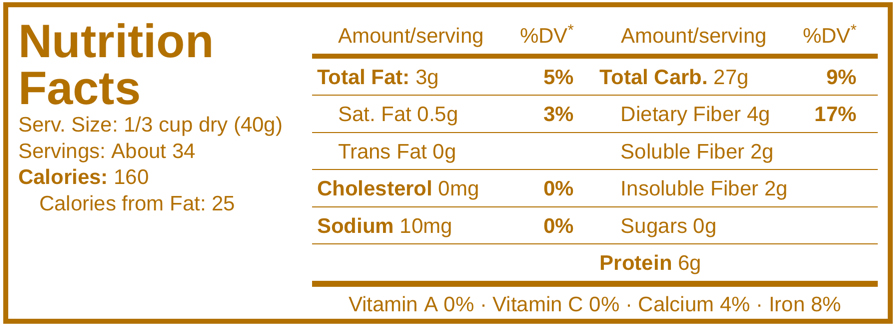 Coach's Oats Nutrition Facts