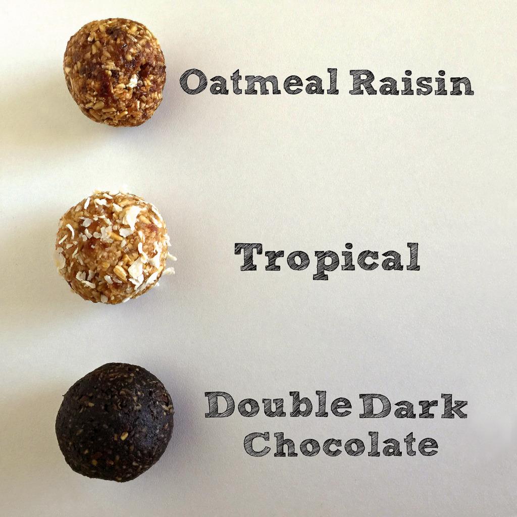 Three types oatmeal bites