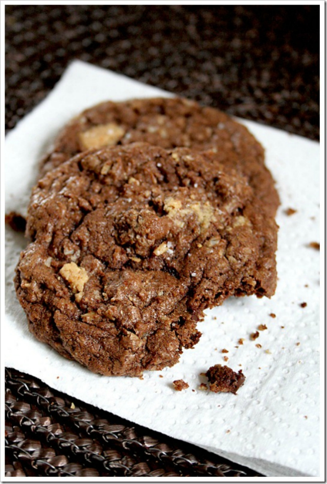 Salted Peanut Butter Chunk Chocolate Cookies